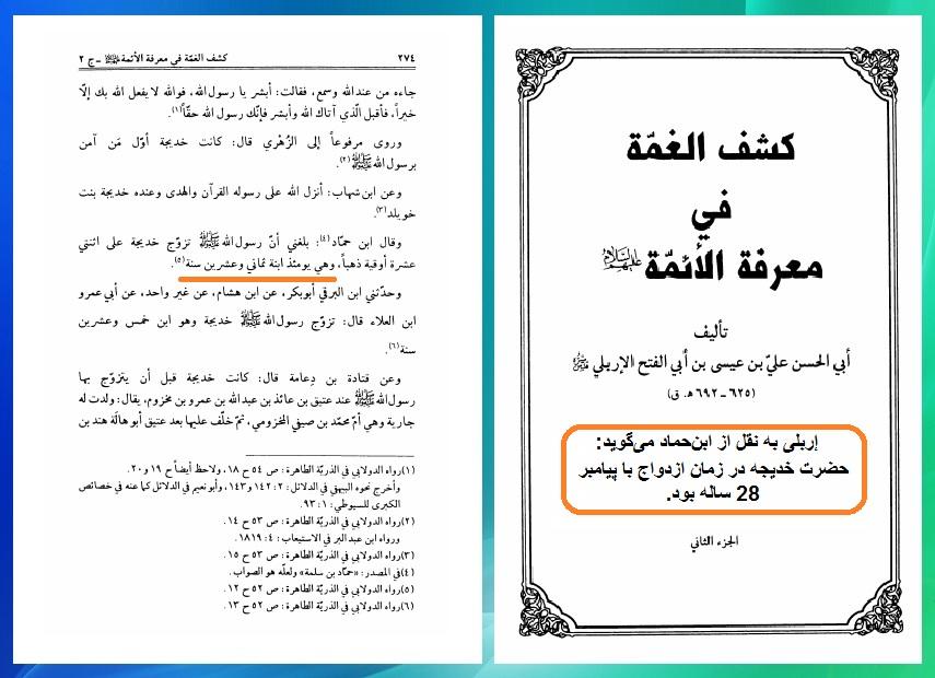 نظر ابن حماد در مورد سن حضرت خدیجه در زمان ازدواج
