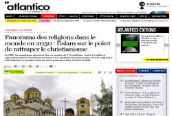 سرعت بالای نشر اسلام در جهان به گفته نشریه atlantico فرانسه